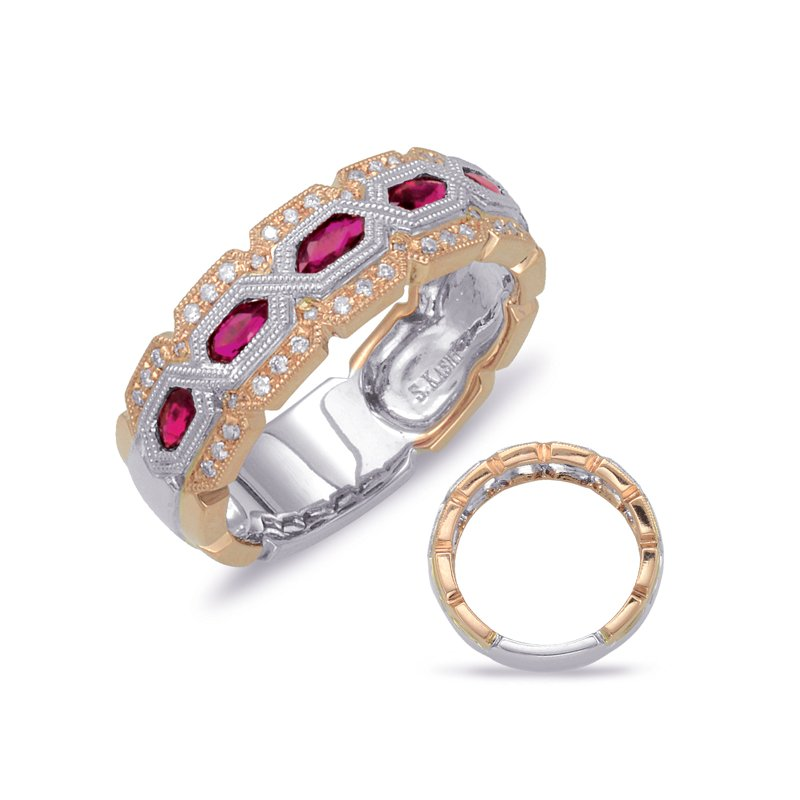 S. Kashi  & Sons Rose & White Gold Ruby & Diamond Ring