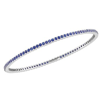 18kt White Gold Womens Round Blue Sapphire Single Row Bangle Bracelet 3.00 Cttw