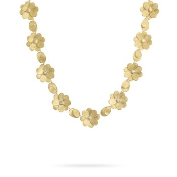 Marco Bicego® Petali Collection 18K Yellow Gold and Diamond Flower Collar