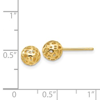 14K Yellow Gold Fancy Ball Post Earrings