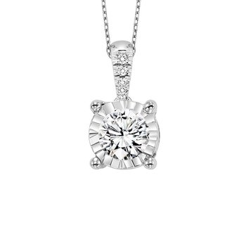 Diamond Starburst Solitaire Pendant Necklace in 14k White Gold (1ctw)