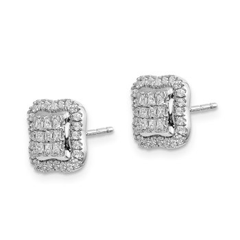 14k White Gold Diamond Square Cluster Post Earrings