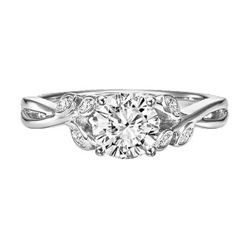 Vintage Leaf Diamond Engagement Semi