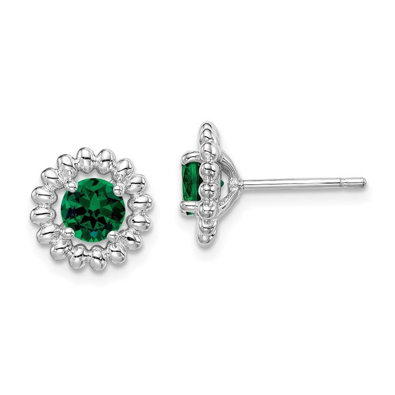 Quality Gold Sterling Silver Rhod-plat Created Emerald Earrings