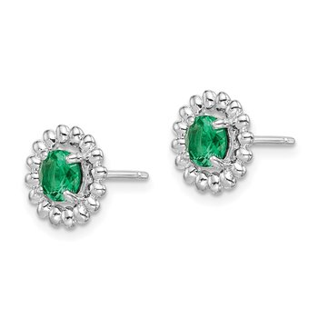 Sterling Silver Rhod-plat Created Emerald Earrings