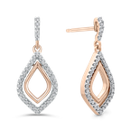 Essentials 10K Rose Gold 1/4 Ct Diamond Fashion Earrings