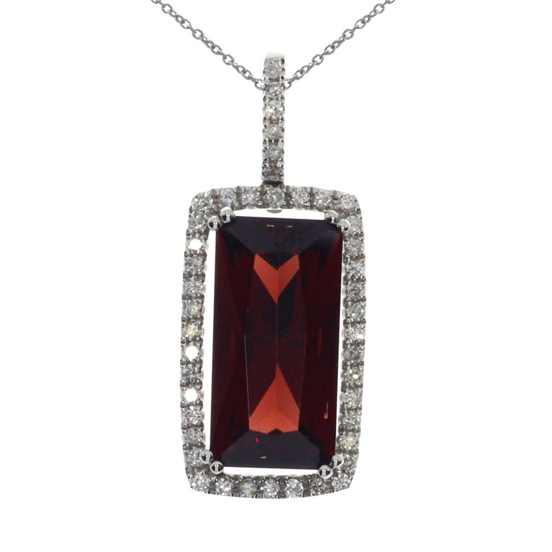 14k White Gold Fashion Garnet Pendant