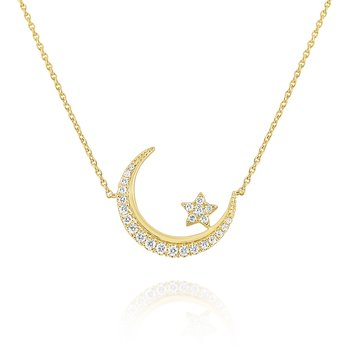 14K Gold and Diamond Moon/Star Necklace