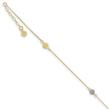 14k Two-tone D/C 9in Plus 1in extender Anklet