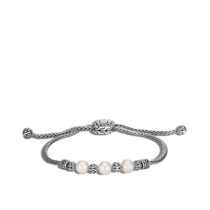 JOHN HARDY Classic Chain Pull Through Bracelet in Silver with Pearl