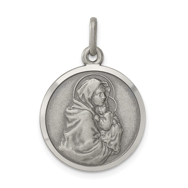 Quality Gold Sterling Silver Antiqued Madonna & Child Medal