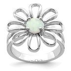Quality Gold Sterling Silver Lab CreatedOpal Flower Ring