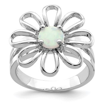 Sterling Silver Lab CreatedOpal Flower Ring