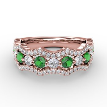 Endless Romance Emerald and Diamond Wave Ring