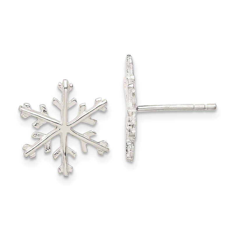 Quality Gold Sterling Silver Snowflake Post Earrings