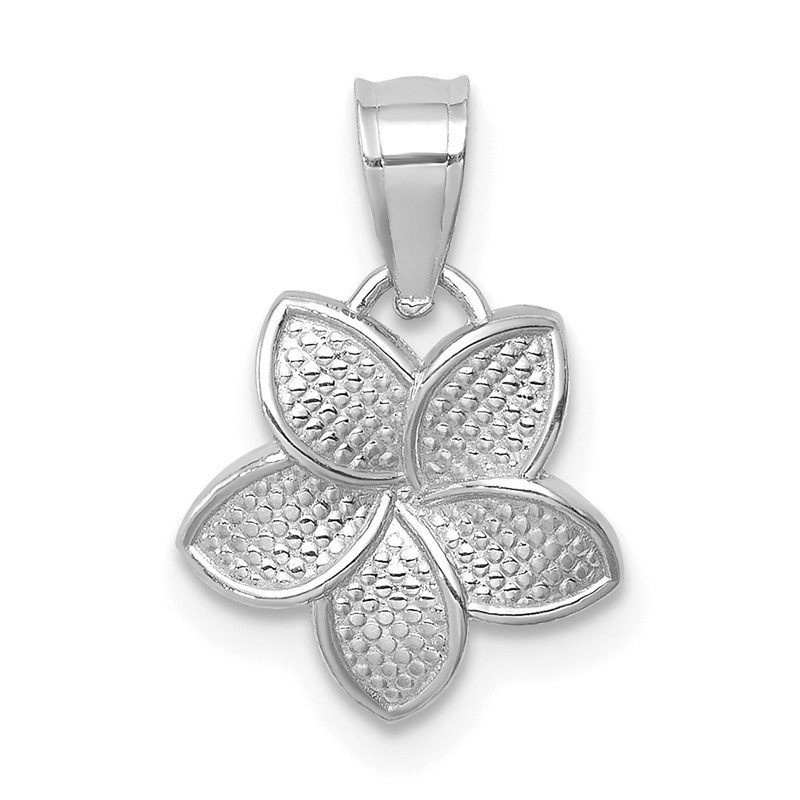 Quality Gold 14K White Polished Mini Plumeria Pendant