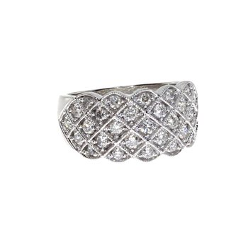 14k  White Gold Diamond  Criss Cross Fashion Band