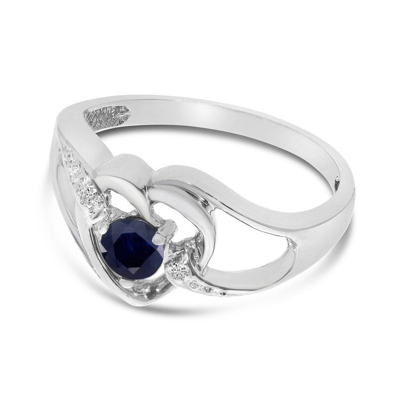 Color Merchants 14k White Gold Round Sapphire And Diamond Heart Ring