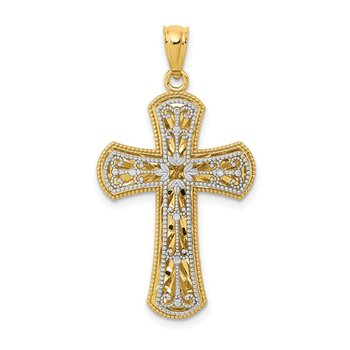 14K Two-tone Polished 2 Level Cross Pendant