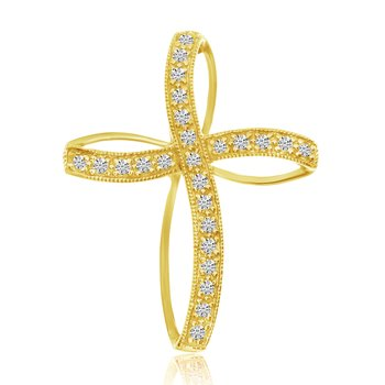 14K Yellow Gold Diamond Highway Cross