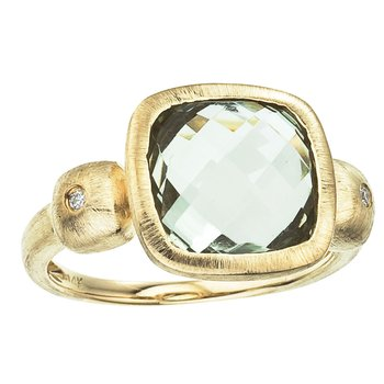 14k Brushed Yellow Gold Cushion Cut Green Amethyst and Diamond Ring