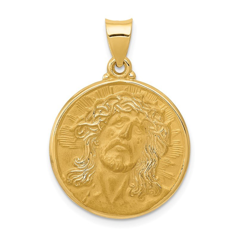 Quality Gold 14k Polished and Satin Face of Jesus Medal Hollow Pendant