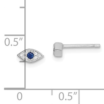 Sterling Silver Rhodium-plated Clear and Blue CZ Eye Post Earrings