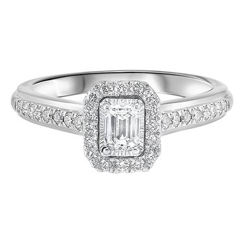 Emerald Cut Diamond Engagement Promise Ring in 14k White Gold (1/2ctw)