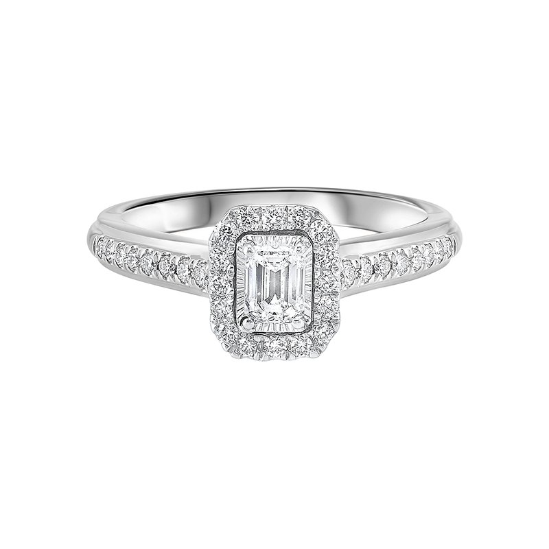 Gems One Emerald Cut Diamond Engagement Promise Ring in 14k White Gold (1/2ctw)