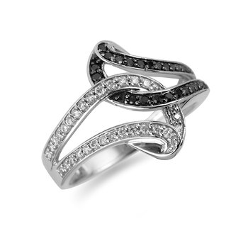 14K WG Black & White Diamond Fashion Ring