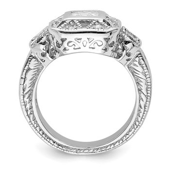 Sterling Silver Rhodium-plated CZ Antique Style Ring