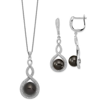 Sterling S Majestik Rh-pl 10-12mm Blk Imitat Shell Pearl & CZ Ear & Neck Se