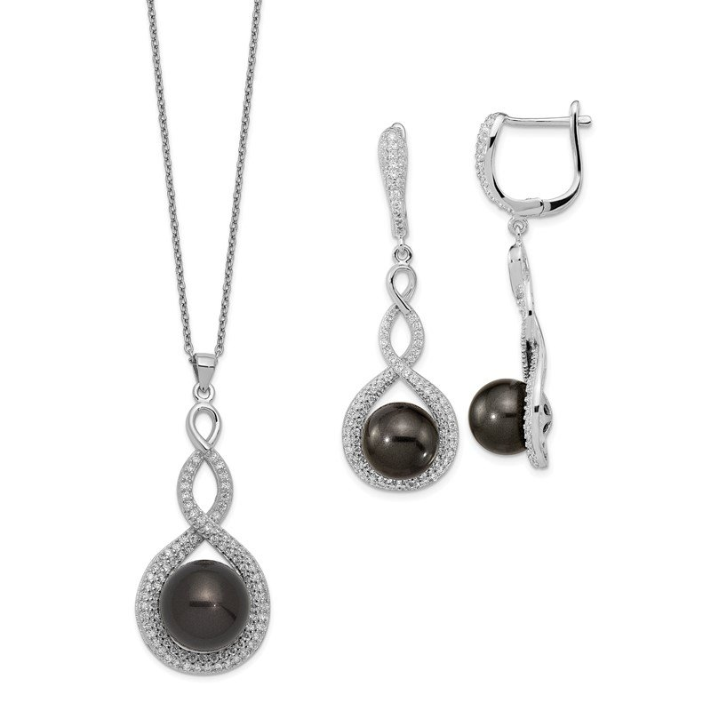 Lester Martin Online Collection Sterling S Majestik Rh-pl 10-12mm Blk Imitat Shell Pearl & CZ Ear & Neck Se