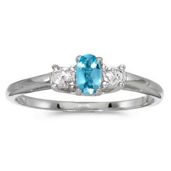 10k White Gold Oval Blue Topaz And Diamond Ring