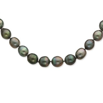 14K WG 8-11mm Baroque Saltwater Cultured Tahitian Pearl Graduated Necklace