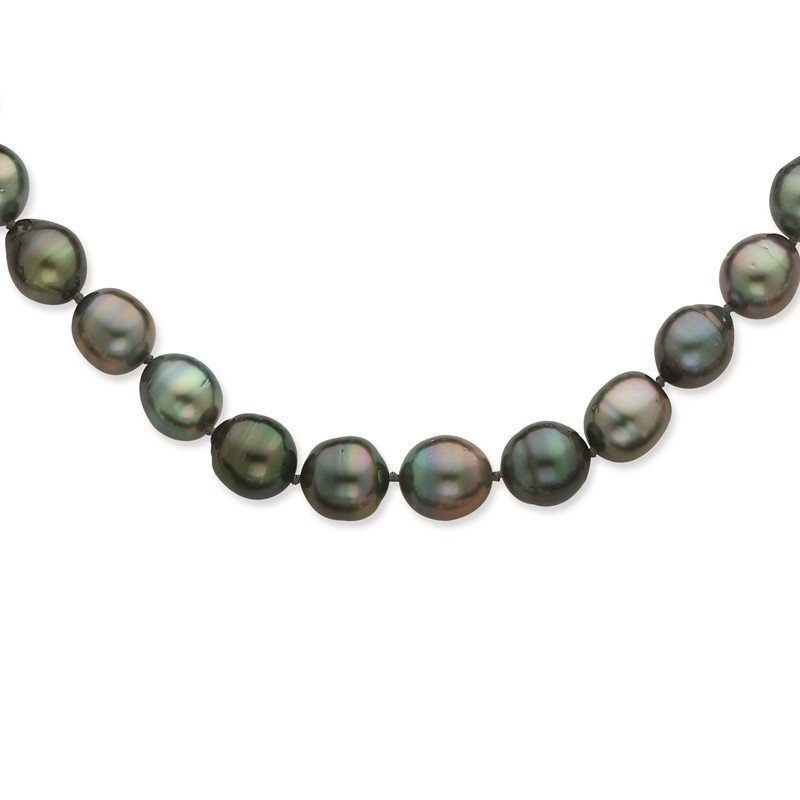 Quality Gold 14K WG 8-11mm Baroque Saltwater Cultured Tahitian Pearl Graduated Necklace
