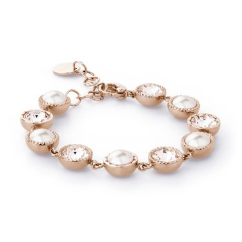316L stainless steel, rose gold pvd, creamrose pearls and silk Swarovski® Elements crystals.