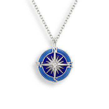 Blue Compass Rose Necklace.Sterling Silver-White Sapphires