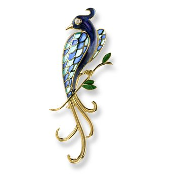 Blue Lyre Bird Brooch.18K -Diamonds