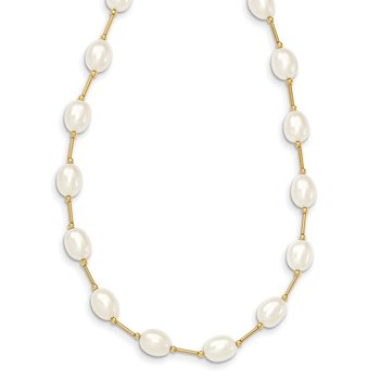 14K 7-8mm White Rice Freshwater Cultured Pearl Bead Necklace