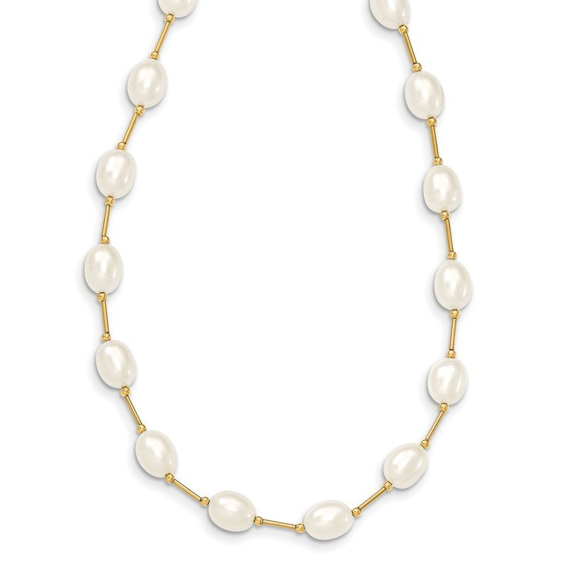 Quality Gold 14K 7-8mm White Rice Freshwater Cultured Pearl Bead Necklace