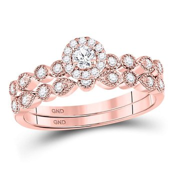 10kt Rose Gold Womens Round Diamond Stackable Bridal Wedding Engagement Ring Band Set 1/3 Cttw