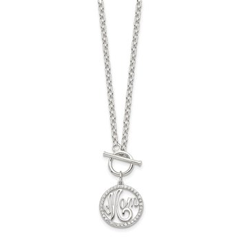 Sterling Silver Rhodium-plated Polished CZ MOM Necklace