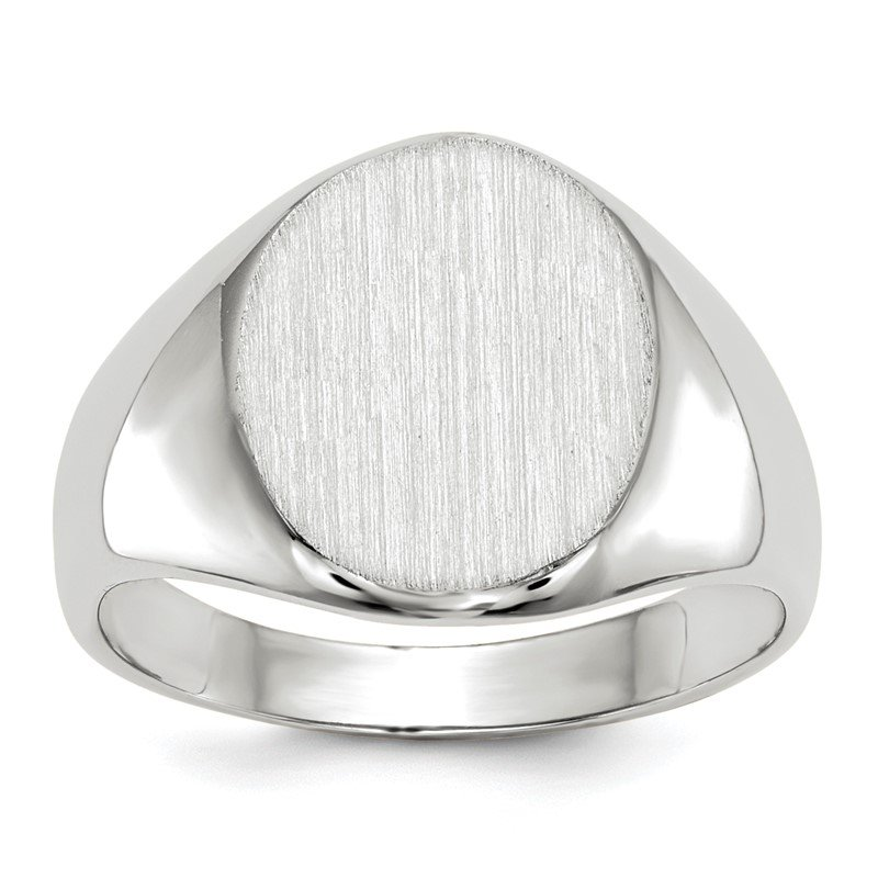 Quality Gold 14k White Gold 11.5x10.0mm Closed Back Signet Ring
