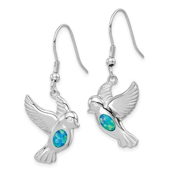 Sterling Silver Rhodium-plated Created Blue Opal Bird Dangle Earrings