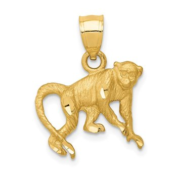 14K Diamond-cut Monkey Pendant