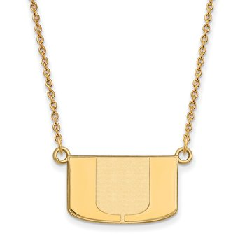 Gold University of Miami NCAA Necklace