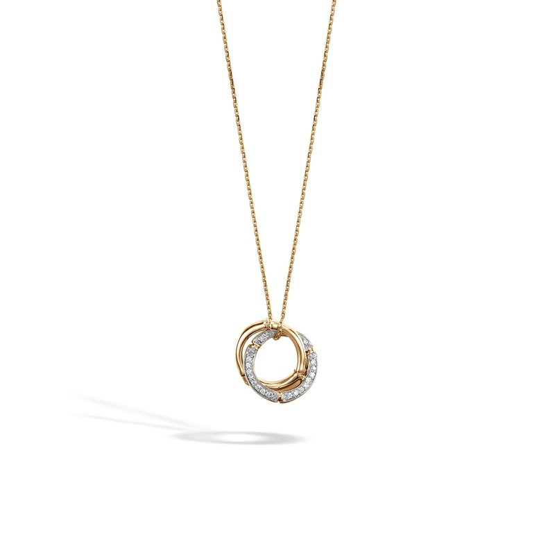 JOHN HARDY Bamboo Pendant Necklace in 18K Gold with Diamonds
