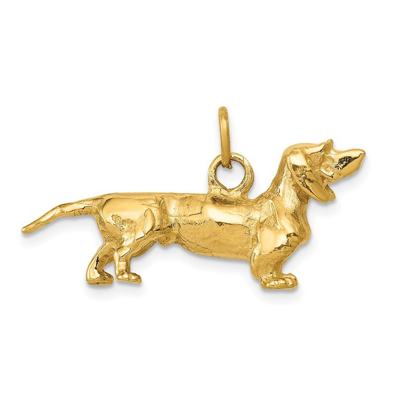 Quality Gold 14k 3D Dachshund Dog Charm