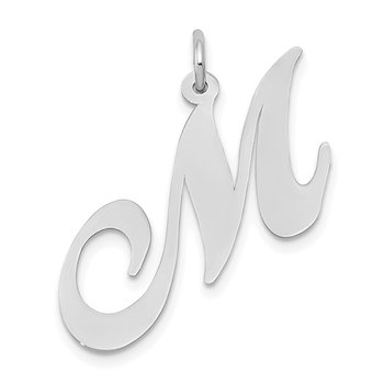 14k White Gold Large Fancy Script Letter M Initial Charm